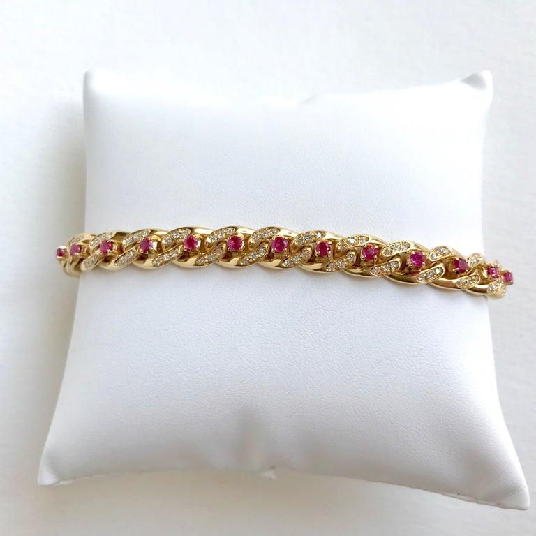 Brilliant Cut Cartier 18 Karat Yellow Gold Gourmet Link Bracelet, 22 Rubies, 132 Diamonds For Sale
