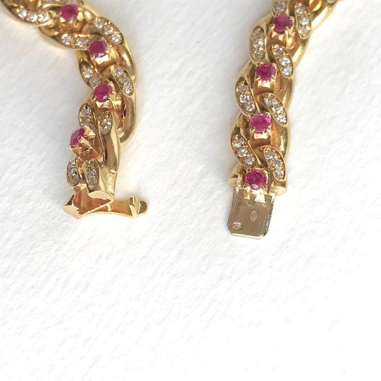Cartier 18 Karat Yellow Gold Gourmet Link Bracelet, 22 Rubies, 132 Diamonds For Sale 1