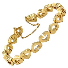 Cartier 18 Karat Yellow Gold Heart Link Bracelet Modern