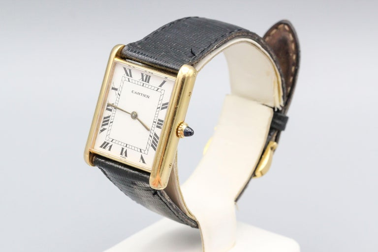 Cartier 18 Karat Yellow Gold Jumbo Louis Cartier Tank Automatic Wristwatch In Good Condition For Sale In New York, NY