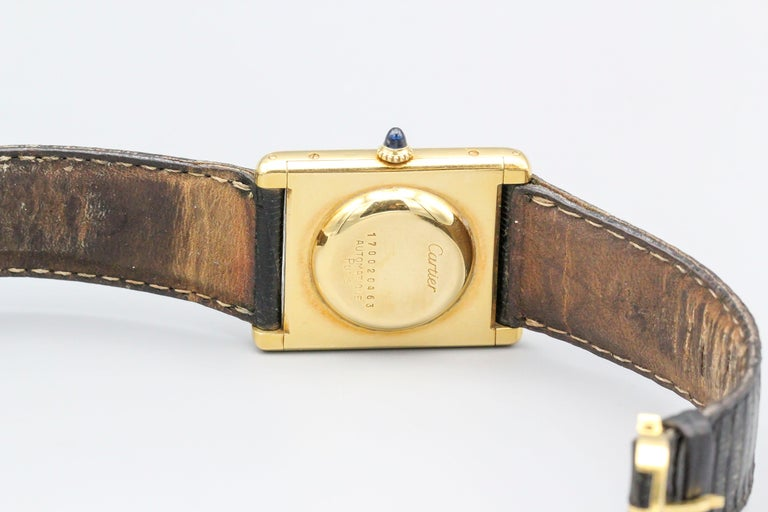 Women's or Men's Cartier 18 Karat Yellow Gold Jumbo Louis Cartier Tank Automatic Wristwatch For Sale