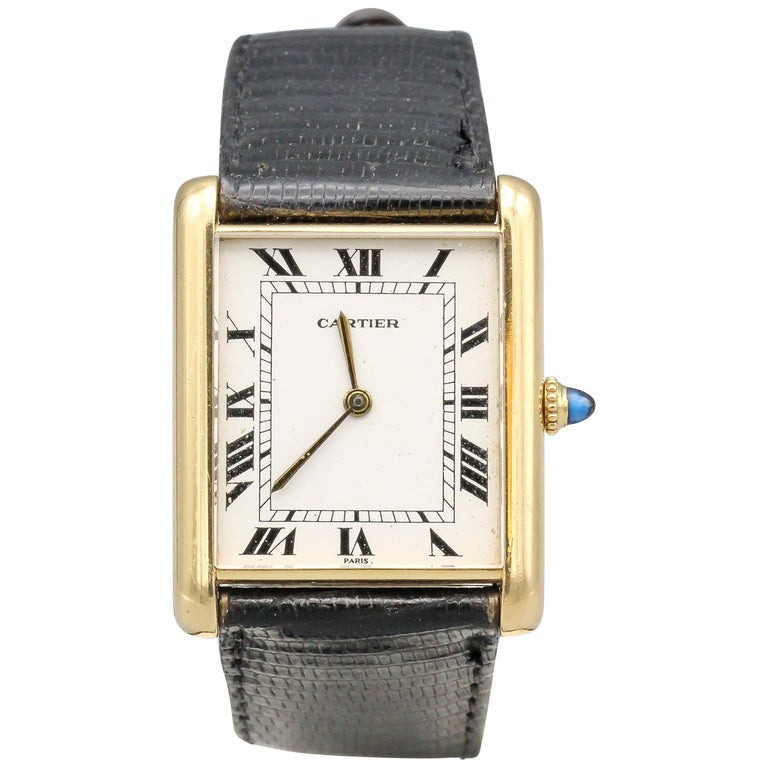 Cartier 18 Karat Yellow Gold Jumbo Louis Cartier Tank Automatic Wristwatch For Sale