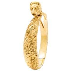 Cartier 18 Karat Yellow Gold Lion Bangle, circa 1960s