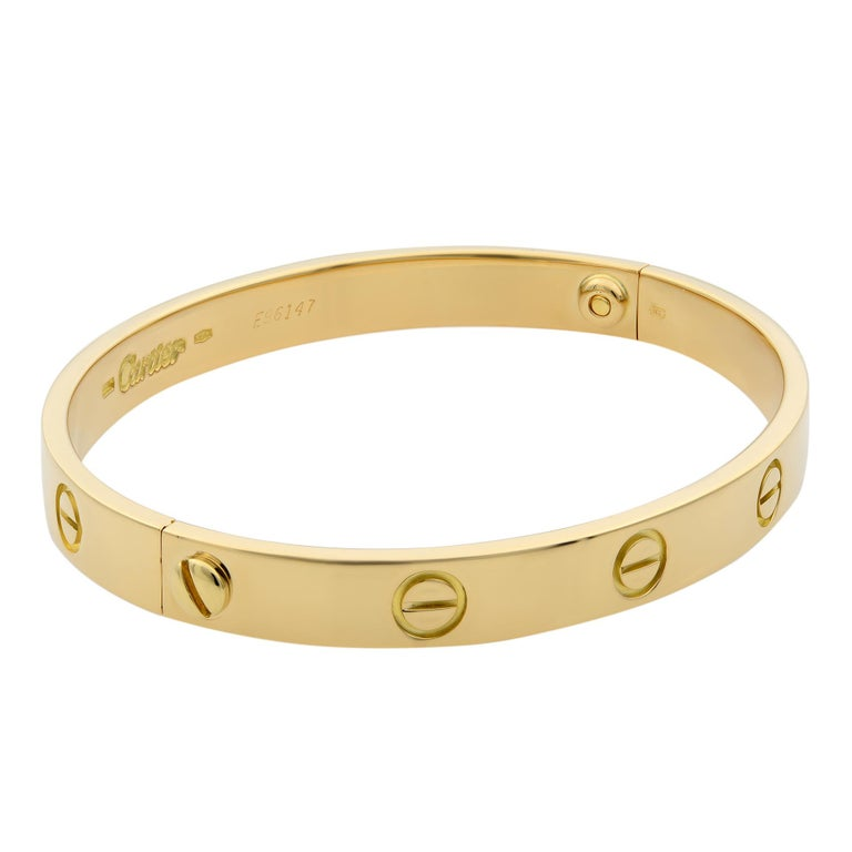 Modern Cartier 18 Karat Yellow Gold Love Bracelet Old Style For Sale