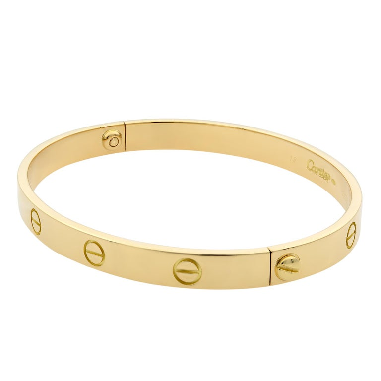 Cartier Love bracelet, 18K yellow gold. Old screw system. Width: 6.1mm.  Size 19. Condition: pre-owned, looks great. Comes with a screw driver. Box and papers are not included.