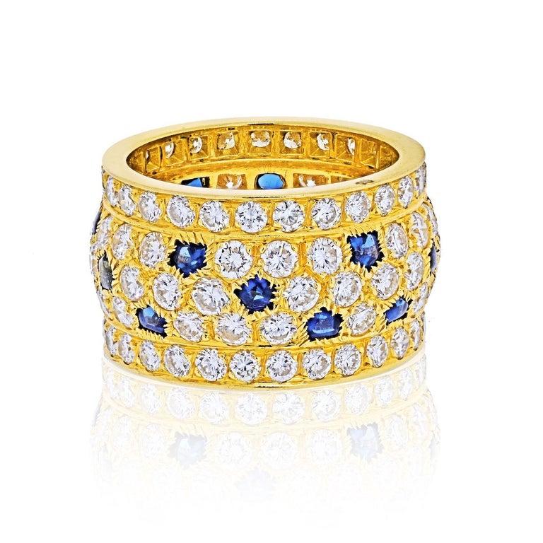 Modern Cartier 18k Yellow Gold Nigeria Diamond Sapphire Ring For Sale