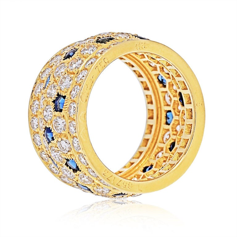Cartier 18k Yellow Gold Nigeria Diamond Sapphire Ring In Excellent Condition For Sale In New York, NY