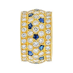 Cartier 18k Yellow Gold Nigeria Diamond Sapphire Ring