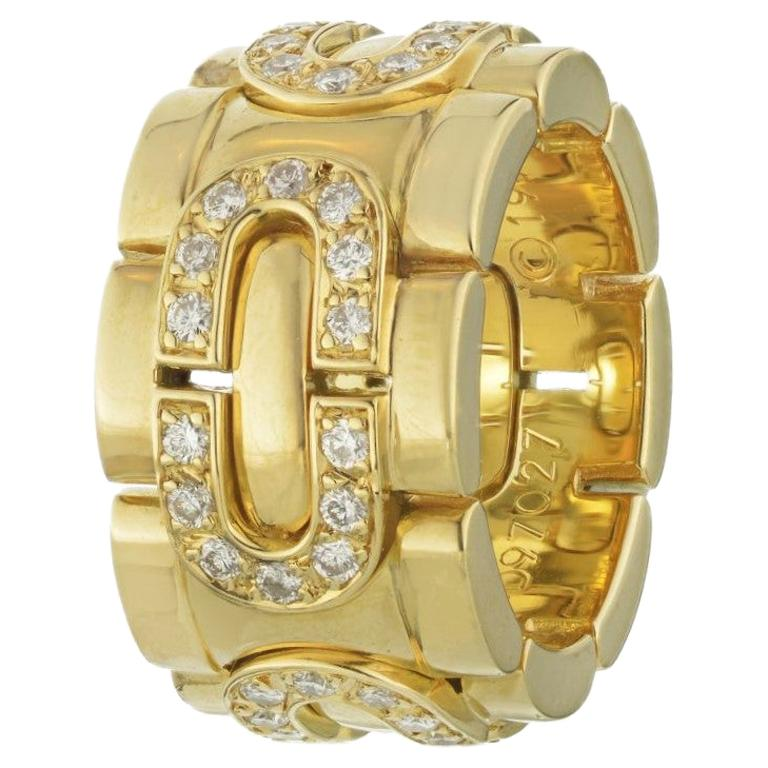 Cartier 18K Yellow Gold Oval Link Diamond Maillon Ring 0.28Cttw