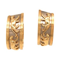 Cartier 18k Yellow Gold Panthere Hoop Earrings
