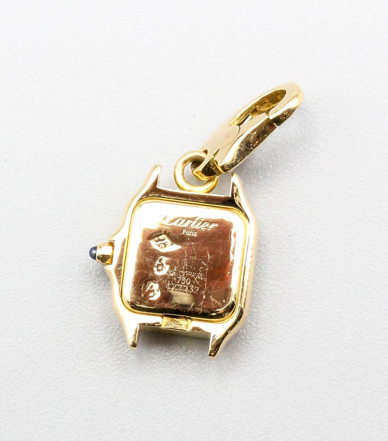 Cartier 18 Karat Yellow Gold Panthere Watch Charm In Excellent Condition For Sale In New York, NY