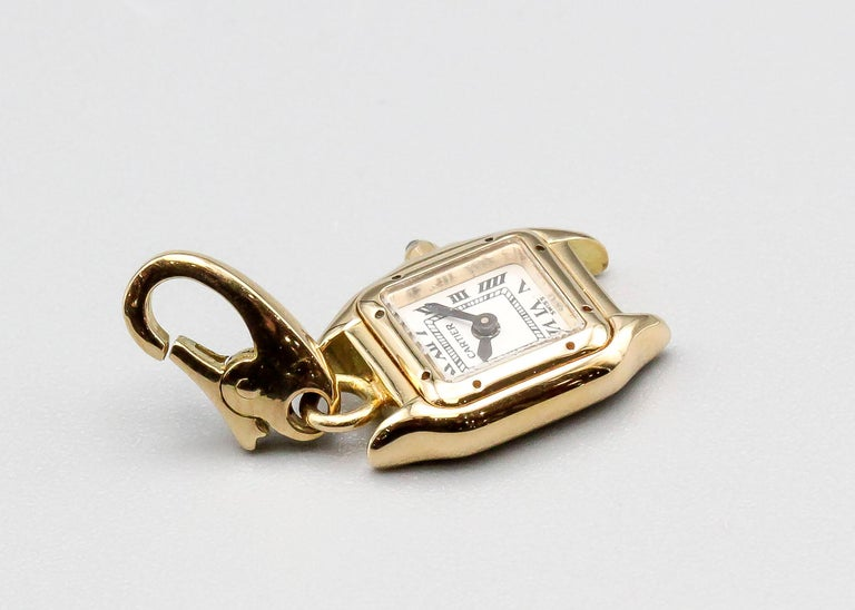 Women's or Men's Cartier 18 Karat Yellow Gold Panthere Watch Charm For Sale