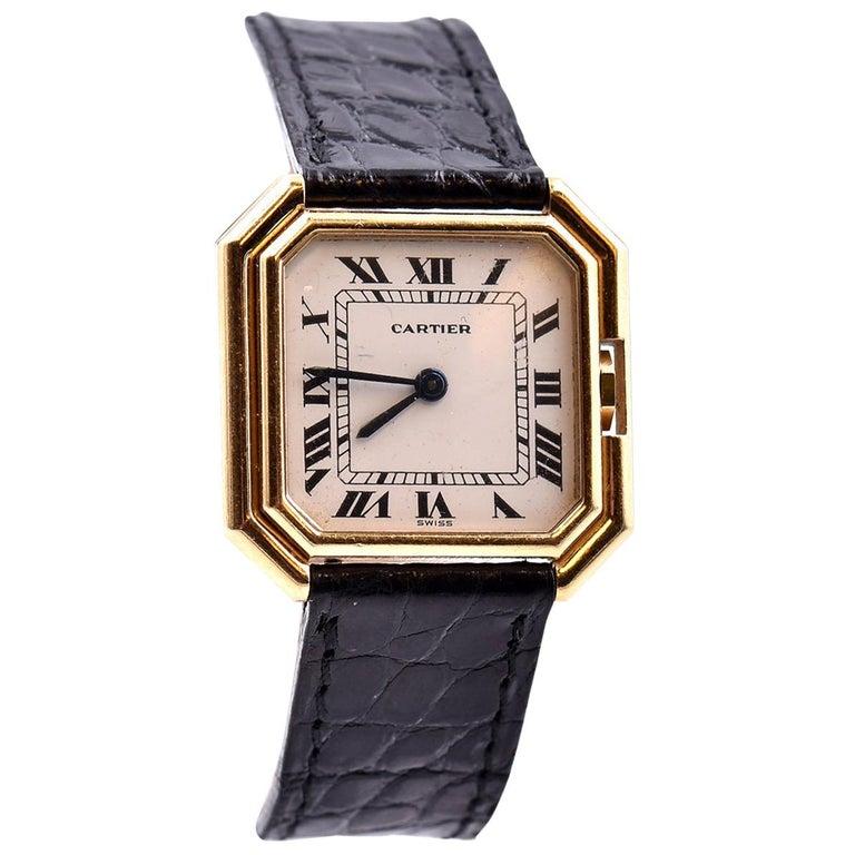 Cartier 18 Karat Yellow Gold Paris Ladies Watch For Sale