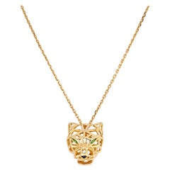 Cartier 18K Yellow Gold Skeleton Panthere on a Chain Necklace