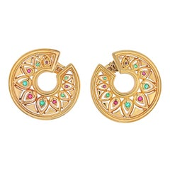 Cartier 18k Yellow Gold Tanjore, Ruby, Emerald Earrings
