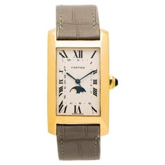 Cartier 18 Karat Yellow Gold Tank Americaine Moon Phase Model 819908