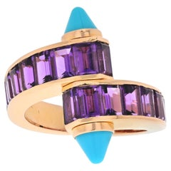 Cartier 18K Yellow Gold Turquoise and Amethyst Bypass Memotte Vintage Ring