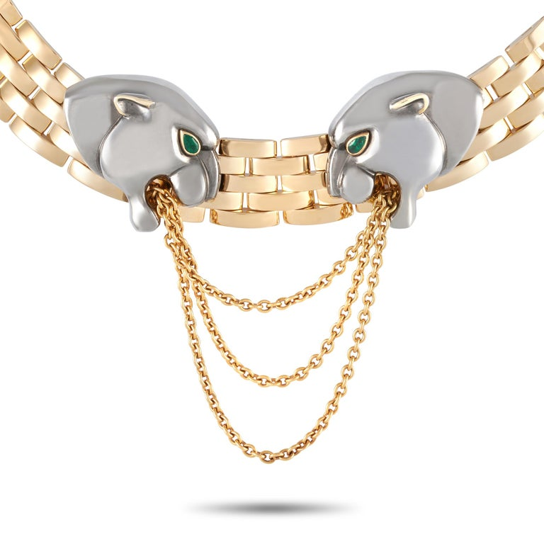 Ready to make a big statement is this extremely rare Cartier 18K Yellow Gold Hematite Panthere Choker Necklace. It features a chunky 14-inch long necklace composed of solid 18K yellow gold flat brick-like links. Two panther heads fashioned from