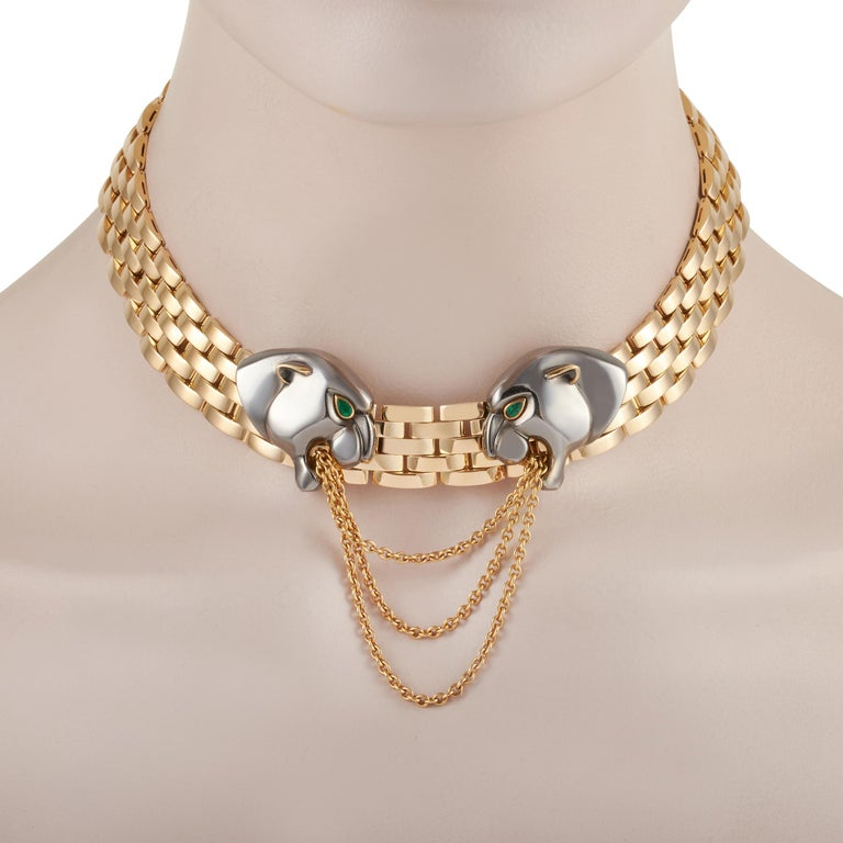 Mixed Cut Cartier 18k Yellow Gold Very Rare Hematite Panthere Necklace For Sale