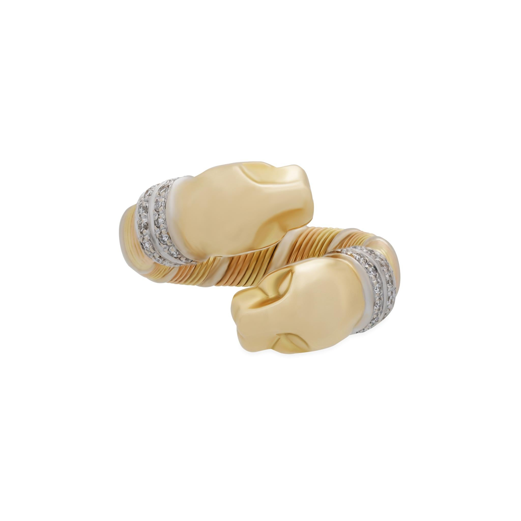 Cartier 18K Yellow, White and Rose Gold Double Panther Crossover Diamond Ring Si