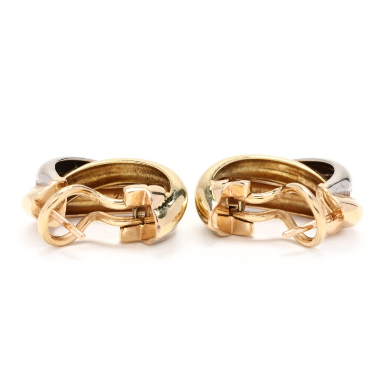 Cartier 18 Karat Yellow, White and Rose Gold Hoop Earrings In Good Condition For Sale In McLeansville, NC