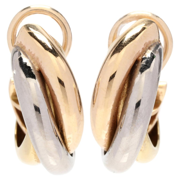 Cartier 18 Karat Yellow, White and Rose Gold Hoop Earrings For Sale