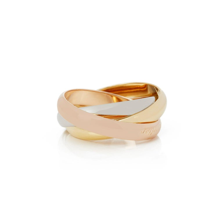 Contemporary Cartier 18 Karat Yellow, White and Rose Trinity Ring For Sale