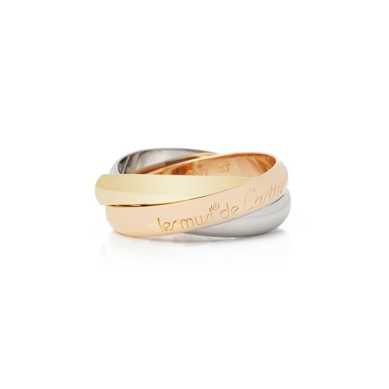 Cartier 18 Karat Yellow, White and Rose Trinity Ring In Good Condition For Sale In Bishop's Stortford, Hertfordshire