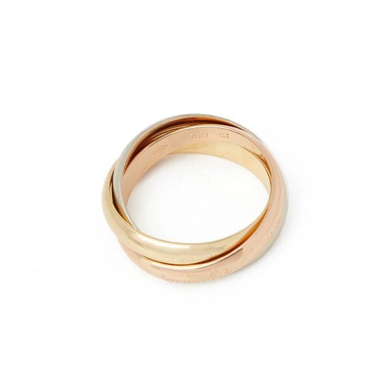 Women's Cartier 18 Karat Yellow, White and Rose Trinity Ring For Sale