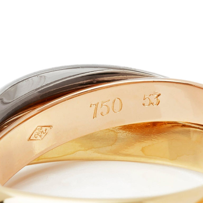 Cartier 18 Karat Yellow, White and Rose Trinity Ring For Sale 1