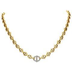 Cartier 18k Yellow, White Gold and Diamond Marine Link Short Collar, circa 1970s