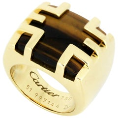 Cartier 18 Karat Gold Dome Ring with Natural Tigers Eye