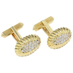Cartier 18kt Yellow Gold Cufflinks with Diamonds
