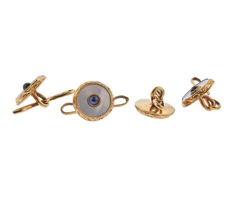 Cartier 1920s Art Deco Gold Mother of Pearl Sapphire Cufflinks Stud Set In Excellent Condition For Sale In Boca Raton, FL