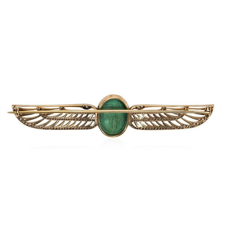 Cartier 1920s Egyptian Revival Faience Scarab and Diamond Brooch In Good Condition For Sale In New York, NY