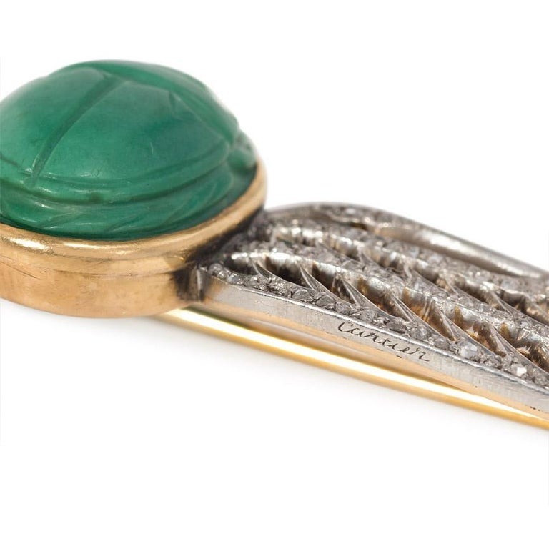 Women's or Men's Cartier 1920s Egyptian Revival Faience Scarab and Diamond Brooch For Sale