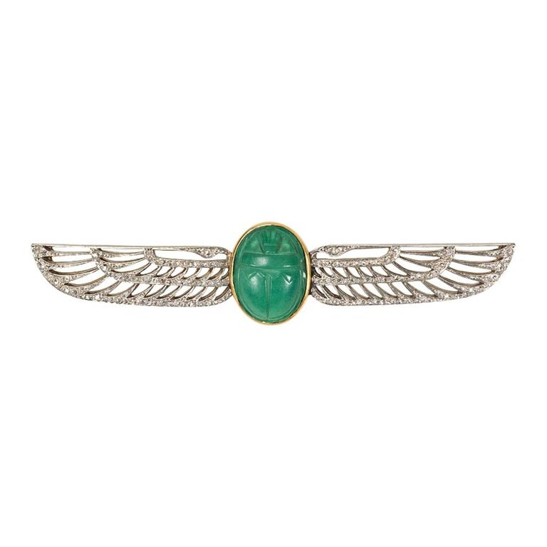 Cartier 1920s Egyptian Revival Faience Scarab and Diamond Brooch For Sale