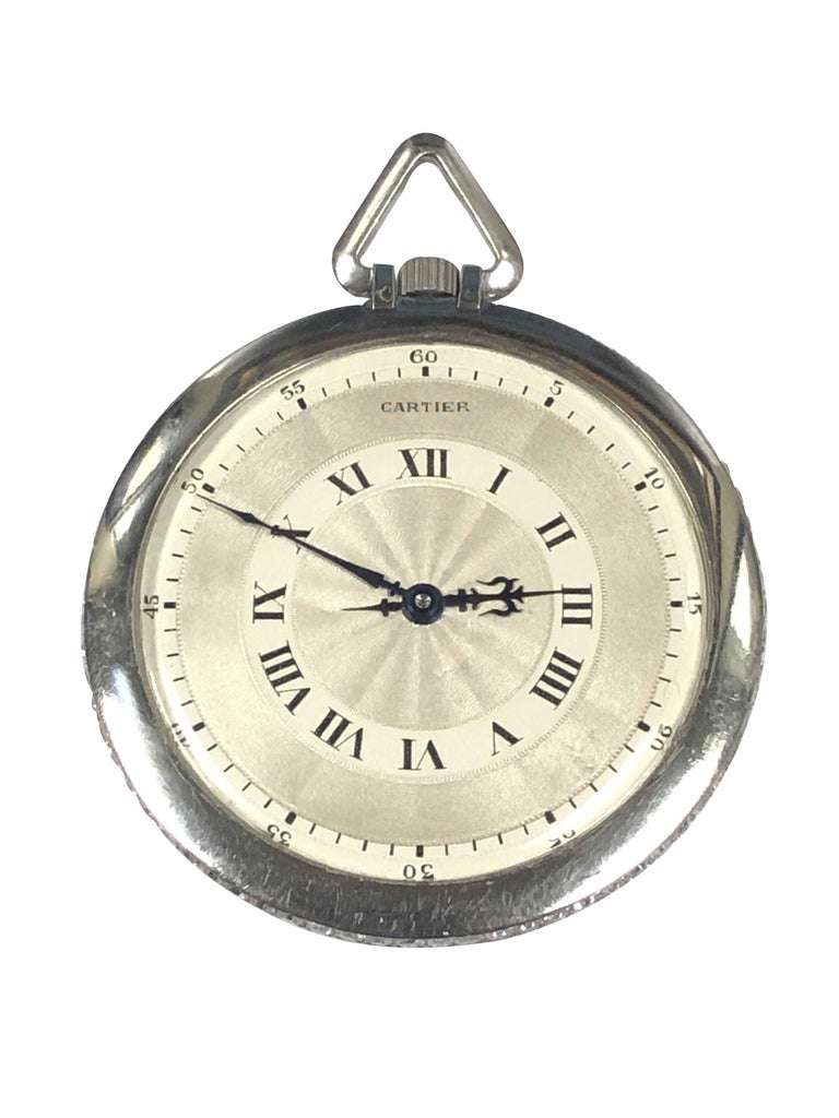 Cartier 1920s Platinum and Diamond EWC Pocket Watch For Sale 1