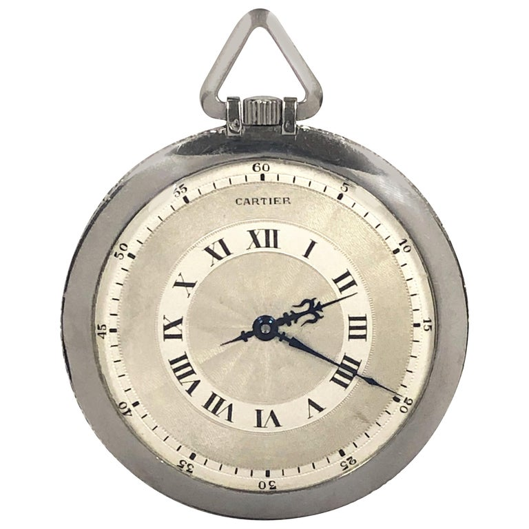 Cartier 1920s Platinum and Diamond EWC Pocket Watch For Sale