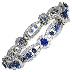 Cartier 1920s Platinum Sapphire Diamond Bracelet