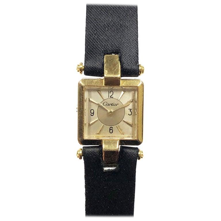Cartier 1930s EWC Gold Ladies Mechanical Wristwatch For Sale