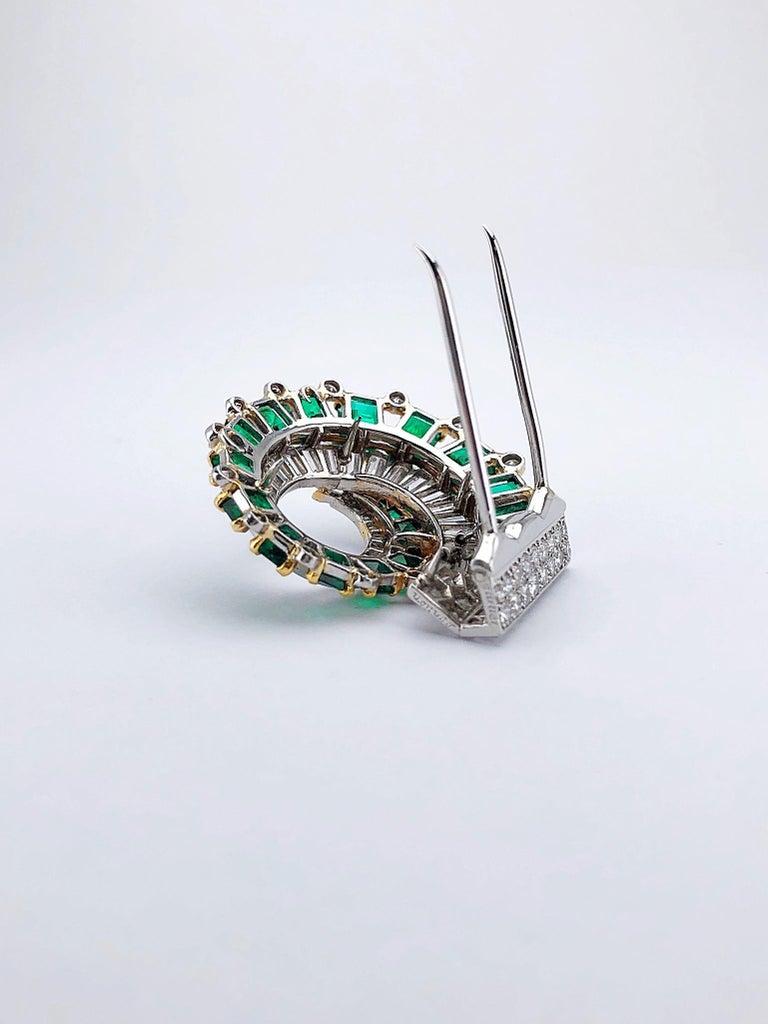 Emerald Cut Cartier London 1930s Diamond Emerald Clip For Sale
