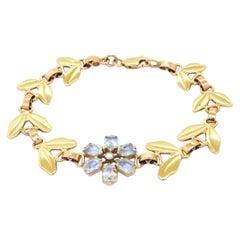 Cartier 1940's 14K Yellow Gold 4.55CT VS1/F Diamond & Aquamarine Flower Bracelet