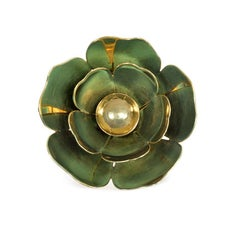 Cartier 1940s Gold and Enamel Reflective Flower Brooch