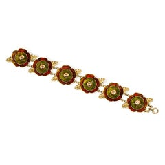 Cartier 1940s Gold and Enamel Reflective Flower Link Bracelet