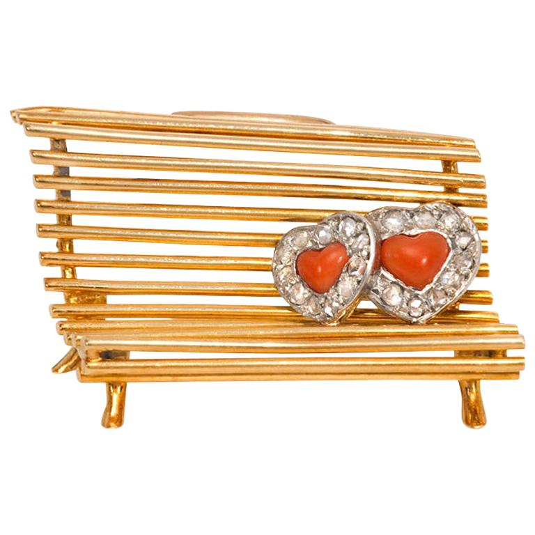 """Cartier 1940s Gold, Diamond, and Coral """"Lovers on a Bench"""" Brooch For Sale"""
