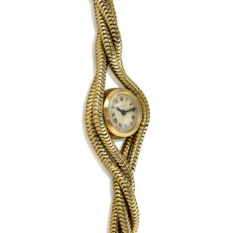 Retro Cartier 1940s Gold Twisted Snake Chain Bracelet Watch For Sale