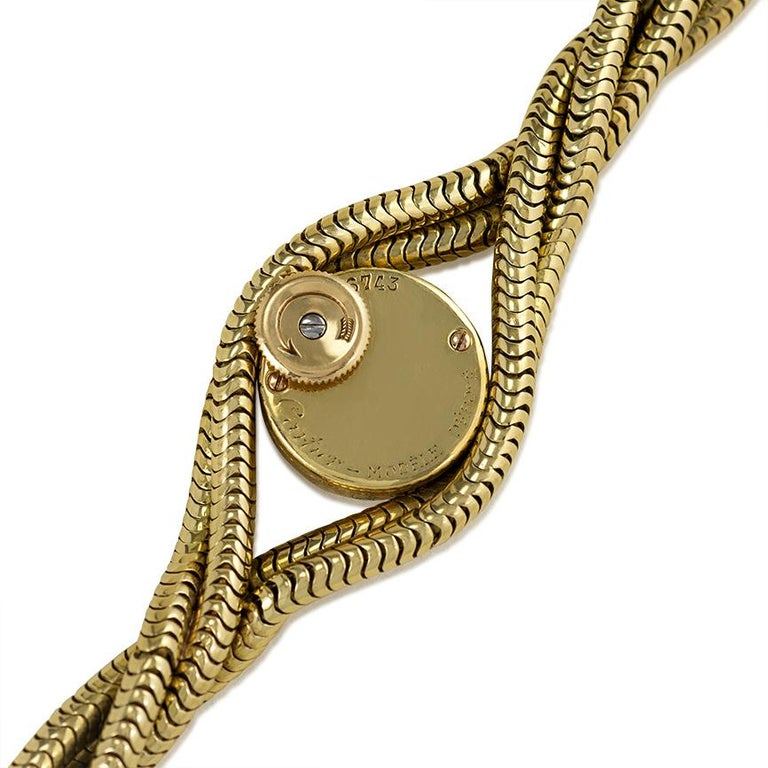 Cartier 1940s Gold Twisted Snake Chain Bracelet Watch In Good Condition For Sale In New York, NY