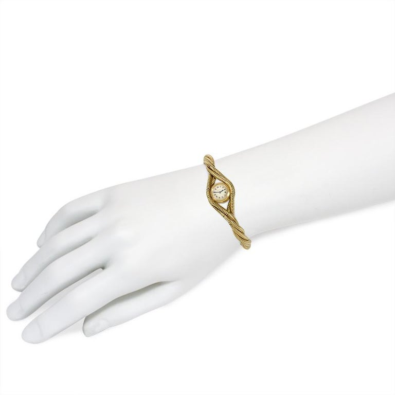 Women's or Men's Cartier 1940s Gold Twisted Snake Chain Bracelet Watch For Sale