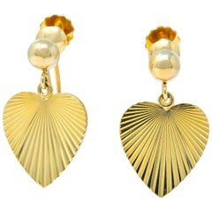 Cartier 1940s Retro 14 Karat Yellow Gold Heart Drop Earrings